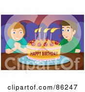 Royalty Free RF Clipart Illustration Of A Birthday Boy Making A Wish Before Blowing Out The Candles On His Birthday Party Cake