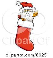 Tooth Mascot Cartoon Character Wearing A Santa Hat Inside A Red Christmas Stocking