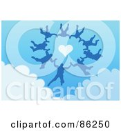 Royalty Free RF Clipart Illustration Of A Group Of Skydivers Free Falling Around A Heart In A Blue Sky by mayawizard101