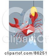 Royalty Free RF Clipart Illustration Of A Crab Being Lifted Out Of Water Holding Onto A Coin