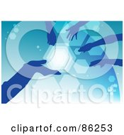 Royalty Free RF Clipart Illustration Of Silhouetted Blue Hands Over Blue by mayawizard101