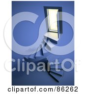 Royalty Free RF Clipart Illustration Of A Door Open Above Spiraling Stairs