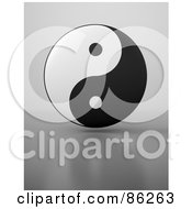 Royalty Free RF Clipart Illustration Of A 3d Upright Yin Yang On Gray