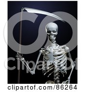 Royalty Free RF Clipart Illustration Of A 3d Human Skeleton With A Scythe
