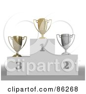 Royalty Free RF Clipart Illustration Of A Trio Of First Second And Third Trophy Cups