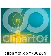 Royalty Free RF Clipart Illustration Of A Glowing String Lightbulb On Blue