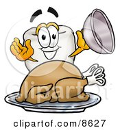 Clipart Picture Of A Tooth Mascot Cartoon Character Serving A Thanksgiving Turkey On A Platter by Toons4Biz
