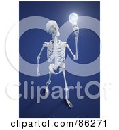 Royalty Free RF Clipart Illustration Of A Human Skeleton Holding A Light Bulb by Mopic