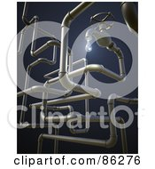 Royalty Free RF Clipart Illustration Of A 3d Dripping Faucet With A Complex Pipe System On Blue