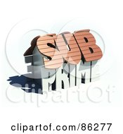 Royalty Free RF Clipart Illustration Of A 3d Sub Prime House With A Shadow by Mopic