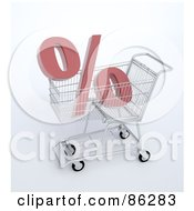 Royalty Free RF Clipart Illustration Of A Percent Symbol In A 3d Shopping Cart