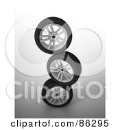 Royalty Free RF Clipart Illustration Of A Stack Of Three Rims And Tires