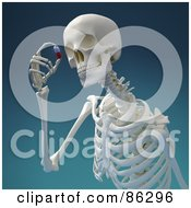 Royalty Free RF Clipart Illustration Of A 3d Human Skeleton Viewing A Pill by Mopic