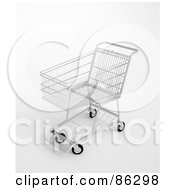 Royalty Free RF Clipart Illustration Of A 3d Silver Shopping Trolley by Mopic
