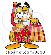 Clipart Picture Of A Tooth Mascot Cartoon Character In Orange And Red Snorkel Gear