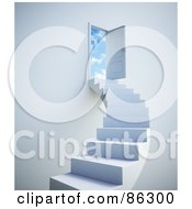 Royalty Free RF Clipart Illustration Of A White Staircase Leading To Clouds Beyond An Open Door by Mopic
