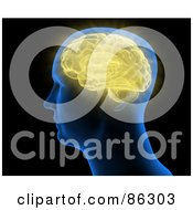 Royalty Free RF Clipart Illustration Of A Blue Head With A Yellow Brain by Mopic