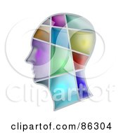 Royalty Free RF Clipart Illustration Of A Human Head With Colorful Sections by Mopic
