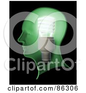 Royalty Free RF Clipart Illustration Of A Shining Lightbulb In A Green Human Head by Mopic