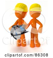 Royalty Free RF Clipart Illustration Of A 3d Orange Man And Woman Wearing Hardhats And Using A Saw During A Home Improvement Project