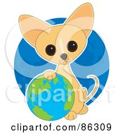 Royalty Free RF Clipart Illustration Of An Adorable Earth Day Chihuahua Puppy Resting His Paw On A Globe