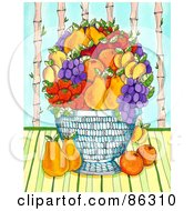 Royalty Free RF Clipart Illustration Of A Large Fruit Bowl With Pears Oranges Grapes Apricots And Strawberries by Maria Bell