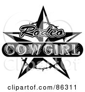 Royalty Free RF Clipart Illustration Of A Black And White Vintage Styled Rodeo Cowgirl Star With Barbed Wire by Andy Nortnik #COLLC86311-0031