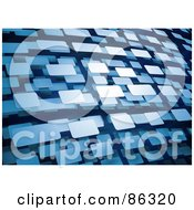 Royalty Free RF Clipart Illustration Of A Background Of Floating Blue 3d Rectangles by Mopic