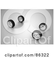 Royalty Free RF Clipart Illustration Of A Set Of Four 3d Car Wheels On Gray