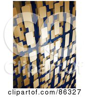 Royalty Free RF Clipart Illustration Of A Background Of Vertical 3d Rows Of Tan Rectangles by Mopic