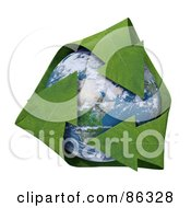 Royalty Free RF Clipart Illustration Of A 3d Recycle Globe With Green Leaf Arrows