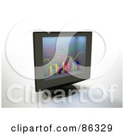 Royalty Free RF Clipart Illustration Of A 3d Computer Monitor With A Colorful Bar Graph On The Screen by Mopic