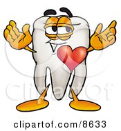 Clipart Picture Of A Tooth Mascot Cartoon Character With His Heart Beating Out Of His Chest by Toons4Biz