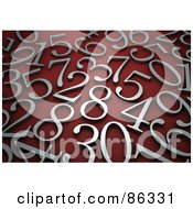 Royalty Free RF Clipart Illustration Of A Background Of Brushed Silver Numbers On Red