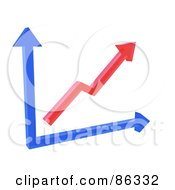 Royalty Free RF Clipart Illustration Of A 3d Red And Blue Arrow Chart by Mopic