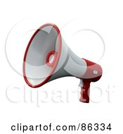 Royalty Free RF Clipart Illustration Of A 3d White And Red Loudspeaker Megaphone