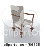 Royalty Free RF Clipart Illustration Of A 3d Modern Chair With Beige Fabric And Knotted Legs by Mopic