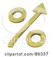 Royalty Free RF Clipart Illustration Of A 3d Golden Percentage Symbol With An Arrow