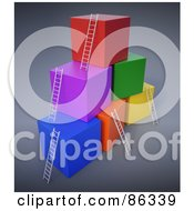 Royalty Free RF Clipart Illustration Of Colorful 3d Cubes With Ladders Reaching The Top by Mopic