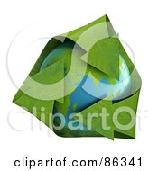 Royalty Free RF Clipart Illustration Of 3d Green Leaf Recycle Arrows Over Earth by Mopic
