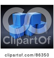 Royalty Free RF Clipart Illustration Of A Blue 3d Cubes With Ladders Reaching The Top by Mopic #COLLC86350-0155