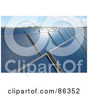 Royalty Free RF Clipart Illustration Of A Solar Energy Farm With Panels Under The Sunlight