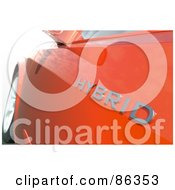 Royalty Free RF Clipart Illustration Of A Closeup Of A Hybrid Logo On An Orange Car