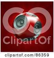 Royalty Free RF Clip Art Illustration Of A 3d Round Red Ball Of Speakers Over Red by Mopic