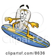 Clipart Picture Of A Tooth Mascot Cartoon Character Surfing On A Blue And Yellow Surfboard