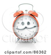 Royalty Free RF Clipart Illustration Of A 3d Orange Alarm Clock With A Face by Mopic