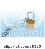 Royalty Free RF Clipart Illustration Of A 3d Gold Padlock With A Chain Inside The Loop