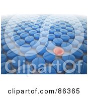 Royalty Free RF Clipart Illustration Of A Red Pill In A Crowd Of Blue Pills by Mopic