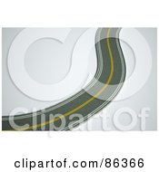 Royalty Free RF Clipart Illustration Of A Winding Paved Road Through White