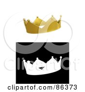 Royalty Free RF Clipart Illustration Of A Digital Collage Of A 3d Golden Crown And Black And White Version